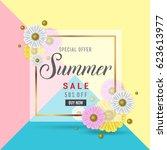 summer sale banner poster... | Shutterstock .eps vector #623613977