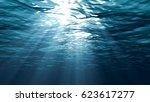 sunbeams in the blue water 3d... | Shutterstock . vector #623617277