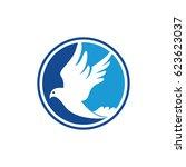circle white dove flying logo... | Shutterstock .eps vector #623623037