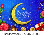 template vector card with moon  ... | Shutterstock .eps vector #623633183