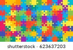 112 multi color puzzles pieces  ... | Shutterstock .eps vector #623637203