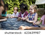 group of children are in a... | Shutterstock . vector #623639987
