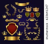 golden vector heraldic elements.... | Shutterstock .eps vector #623641247