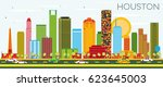 houston skyline with color... | Shutterstock . vector #623645003