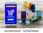 white smart device shows an... | Shutterstock . vector #623654063