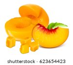 half cut peaches without pits...   Shutterstock .eps vector #623654423