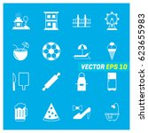 set of 16 mix icons on blue... | Shutterstock .eps vector #623655983
