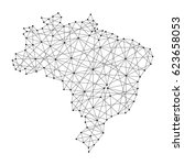 map of brazil from polygonal... | Shutterstock .eps vector #623658053