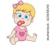 cute little baby sitting.vector ...   Shutterstock .eps vector #623658143