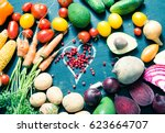 variety of vegetables and... | Shutterstock . vector #623664707