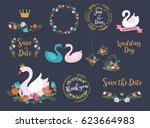 wedding and birthday set with... | Shutterstock .eps vector #623664983