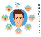 male facial clean skin vector... | Shutterstock .eps vector #623665457