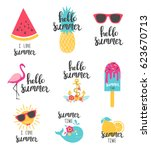 summer lettering set with... | Shutterstock .eps vector #623670713