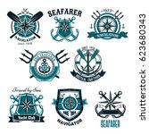 heraldic marine and nautical... | Shutterstock .eps vector #623680343