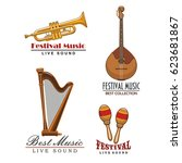 live music festival or sound... | Shutterstock .eps vector #623681867