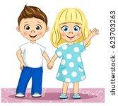 Vector Cute Smiling Children...