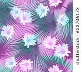 seamless floral tropical... | Shutterstock .eps vector #623706173