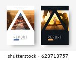 Template of universal covers for business, travel, sports or food. Design of modern flyers, presentations, brochures of standard size with triangles for photos. mosaic for sample. | Shutterstock vector #623713757
