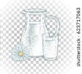 hand drawn milk jug and glass... | Shutterstock .eps vector #623717063