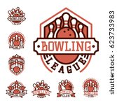 vector bowling emblem and... | Shutterstock .eps vector #623733983