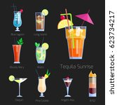 set of alcoholic cocktails... | Shutterstock .eps vector #623734217