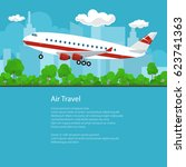 flyer air travel  airplane on...   Shutterstock .eps vector #623741363