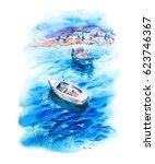 summer sun watercolor landscape ...   Shutterstock . vector #623746367