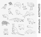 australian animals set. cartoon ... | Shutterstock .eps vector #623746553