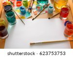 paper  paints  brush and some... | Shutterstock . vector #623753753