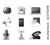 communication icons   b w series | Shutterstock .eps vector #62375698