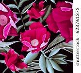 seamless tropical flower  plant ...   Shutterstock . vector #623761373