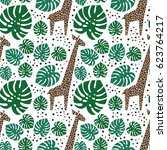giraffes  palm leaves and dots... | Shutterstock .eps vector #623764217