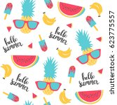 summer pattern. watermelon ... | Shutterstock .eps vector #623775557