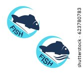 vector fish silhouette with... | Shutterstock .eps vector #623780783