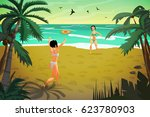 young women are engaged in...   Shutterstock .eps vector #623780903
