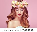 beautiful blonde woman with... | Shutterstock . vector #623825237