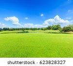 green grass under the blue sky | Shutterstock . vector #623828327