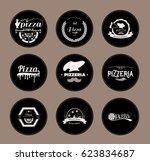 pizza logotypes in vintage... | Shutterstock . vector #623834687