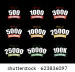 set social media achievements | Shutterstock . vector #623836097