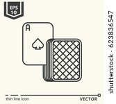 spades ace with pile of cards . ... | Shutterstock .eps vector #623836547
