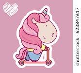 cute cartoon unicorn riding... | Shutterstock .eps vector #623847617