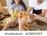 friends dinner with natural... | Shutterstock . vector #623851907