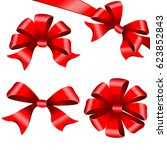 red bows set. isolated on a... | Shutterstock . vector #623852843