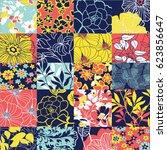 floral patchwork vector... | Shutterstock .eps vector #623856647