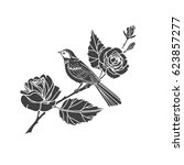 black silhouette of roses and... | Shutterstock .eps vector #623857277