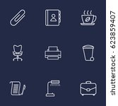 set of 9 work outline icons set.... | Shutterstock .eps vector #623859407