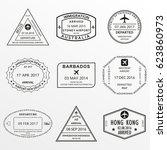 passport stamp set.... | Shutterstock .eps vector #623860973