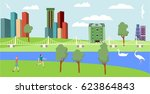 cityscape with big and small... | Shutterstock .eps vector #623864843