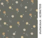 seamless hand drawn pattern of... | Shutterstock . vector #623867033