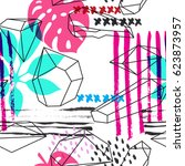 hand made vector abstract... | Shutterstock .eps vector #623873957